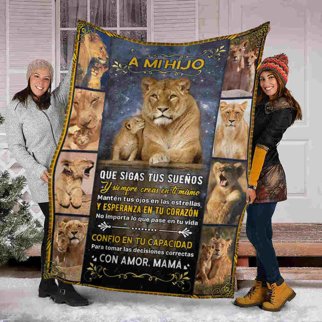 A Mi Hijo Blanket - To My Son Blanket - Lion Blanket From Mom