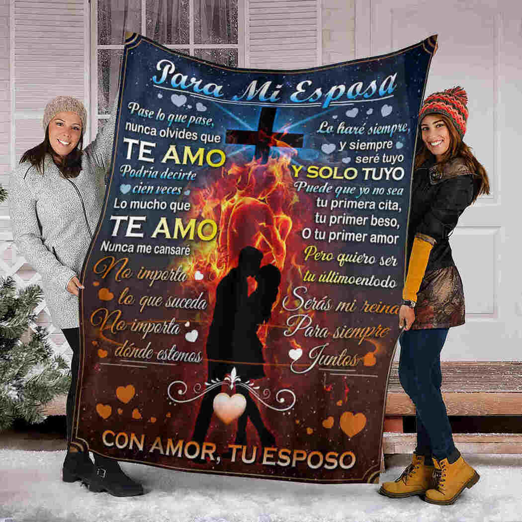 God Couple Kiss - To My Wife Blanket - I Love You Blanket