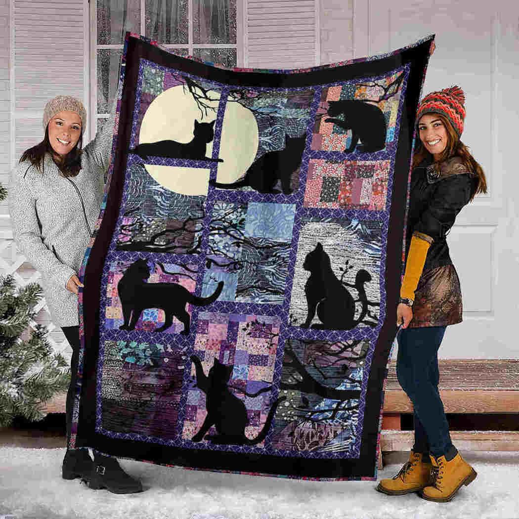 Black Cat Moon Blanket - Beauty Cat Funny Blanket