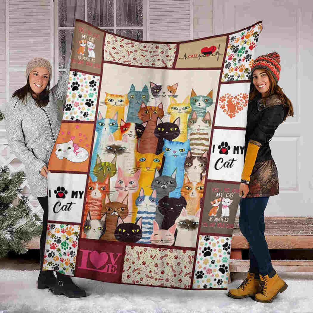 Cat Funny Blanket - I Love My Cat - Color Cat Blanket