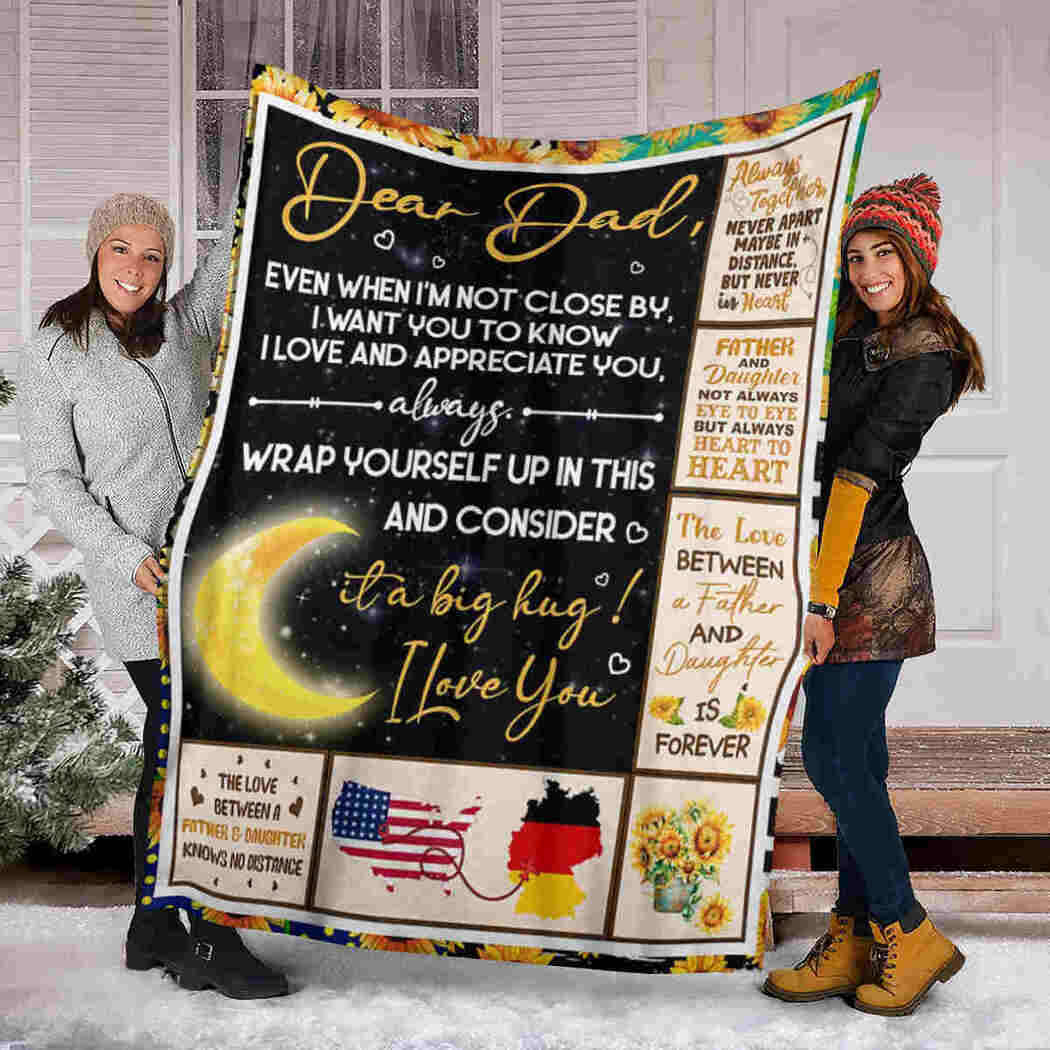 Gift For Dad Blanket - Moon And Sunflower Blanket - I Love And Appreciate You
