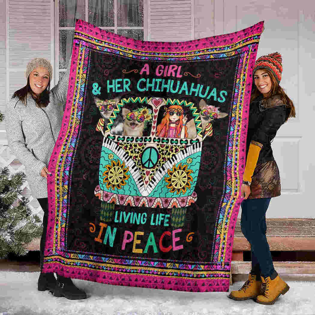 Chihuahua Hippie Car Blanket - Living Life In Peace Blanket