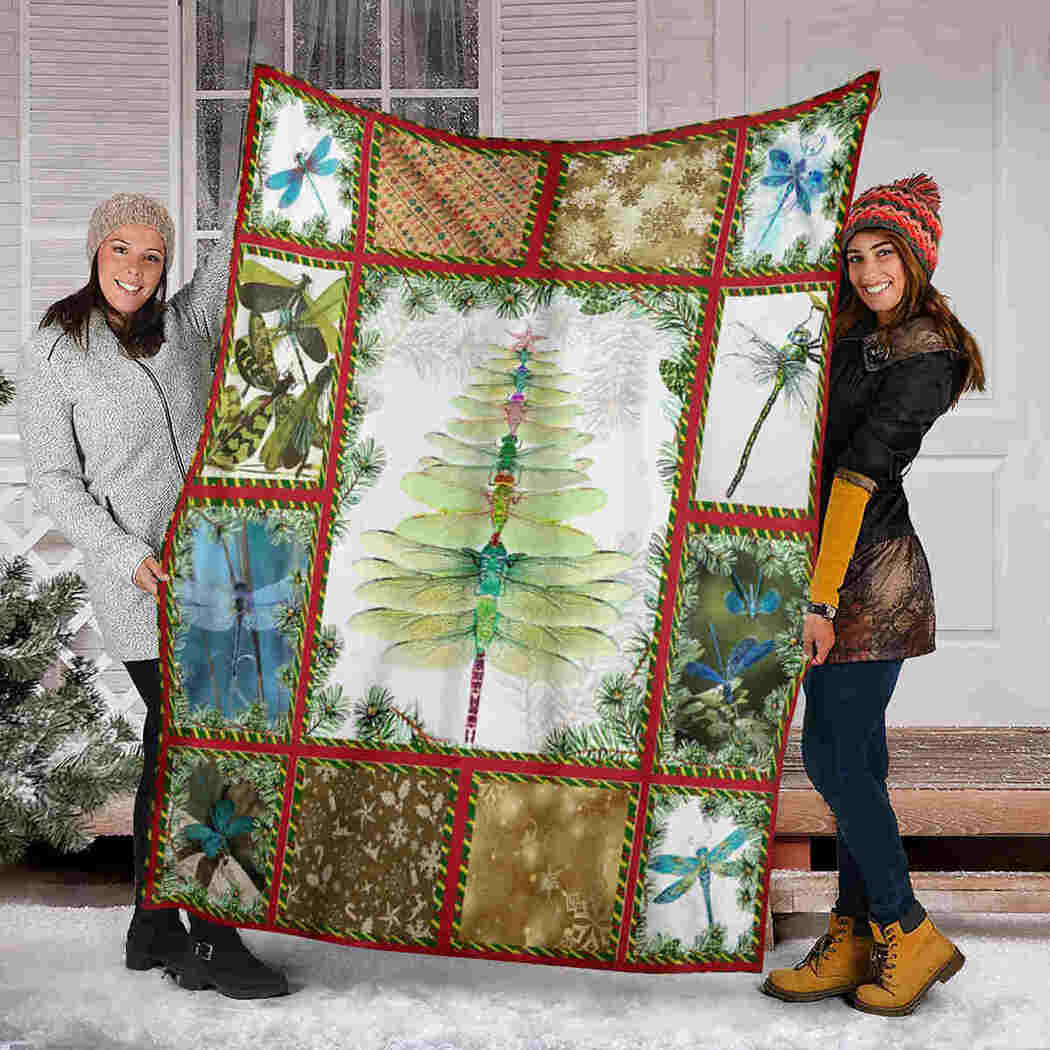 Christmas Dragonfly Blanket - I Am Always With You Blanket