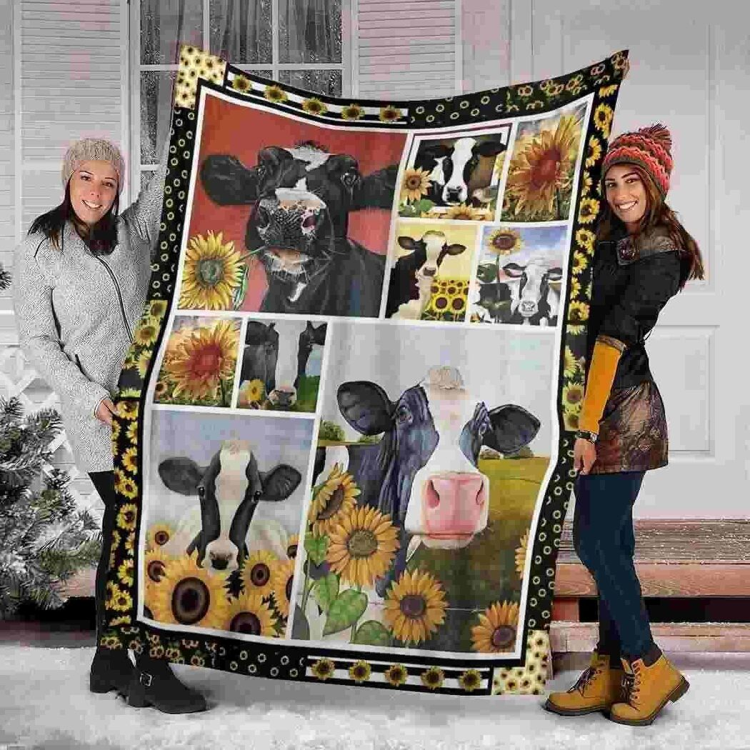 Cow And Sunflower Blanket Quilt