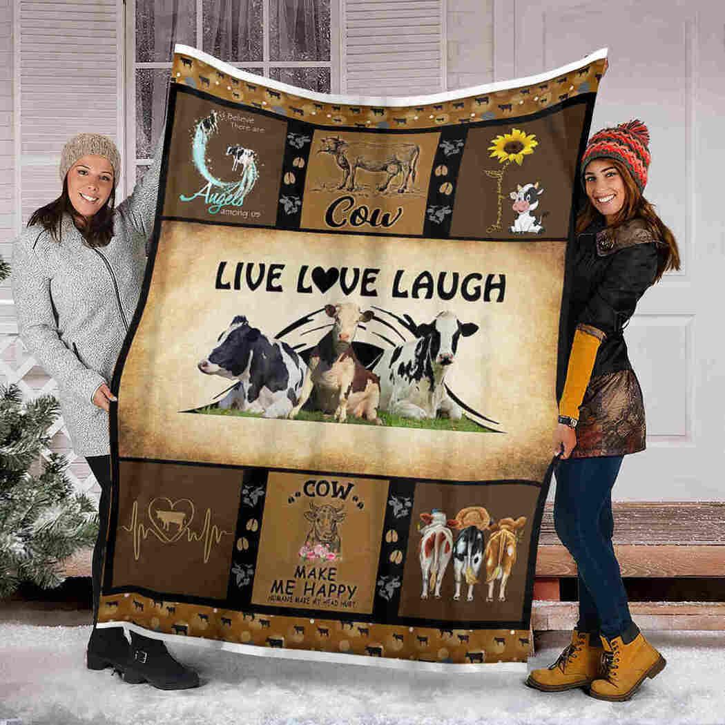 Cow Sunflower Blanket - Cow Live Love Laugh Blanket
