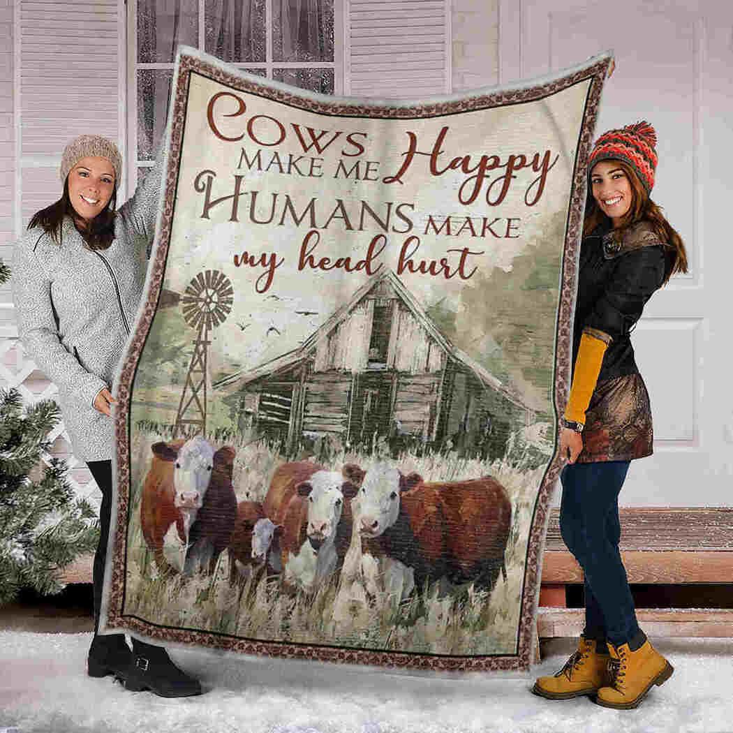 Cow Blanket - Farm Blanket - Cows Make Me Happy