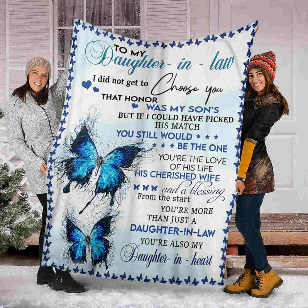 To My Daughter In Law Blanket - Butterfly Blanket - You're The Love Of His Life
