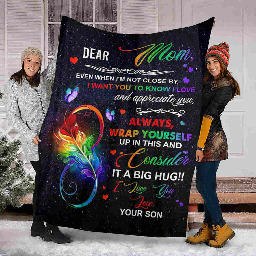 Dear Mom - Color Feathers - I Love You Blanket