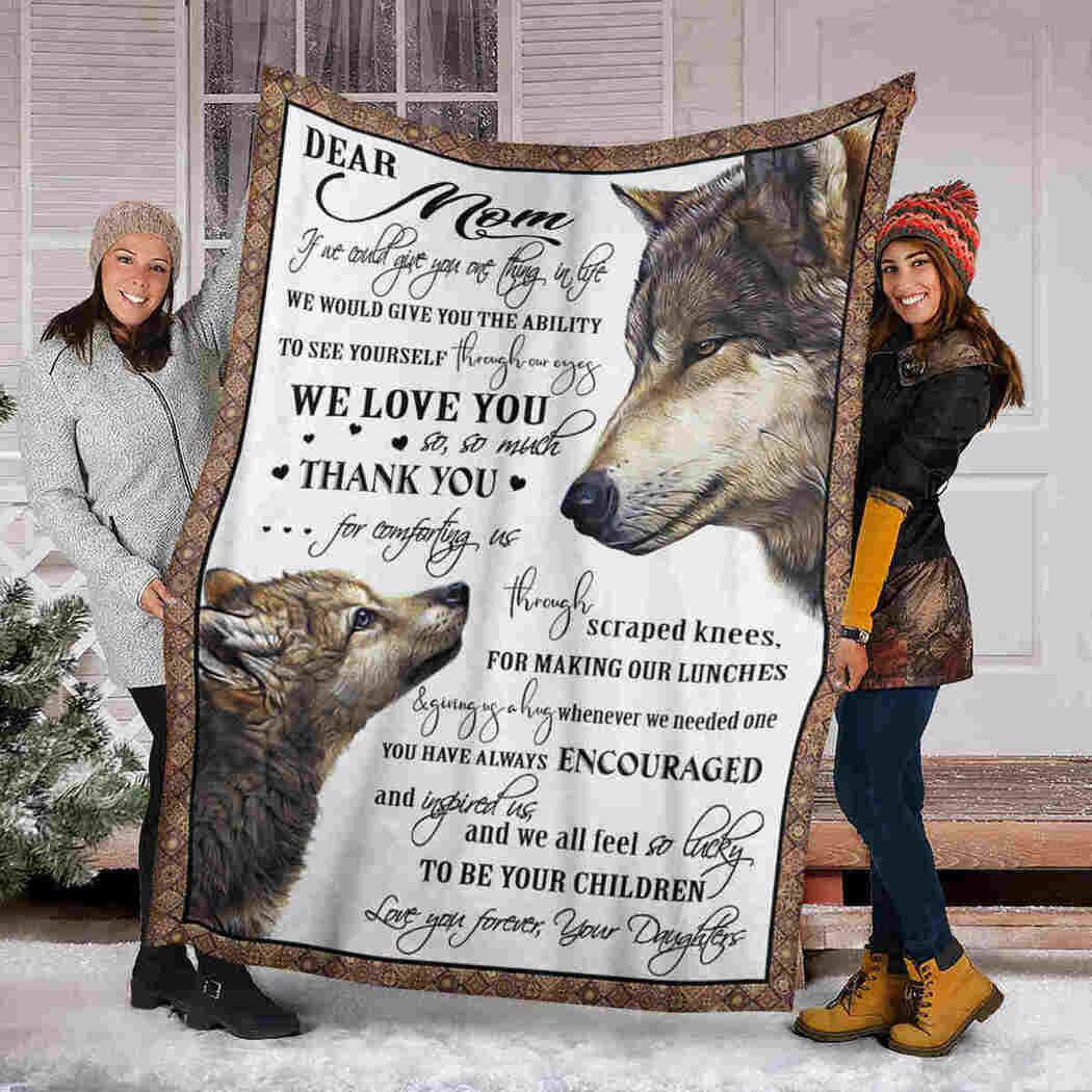 Dear Mom Blanket - Grey Wolf - Thank You Blanket