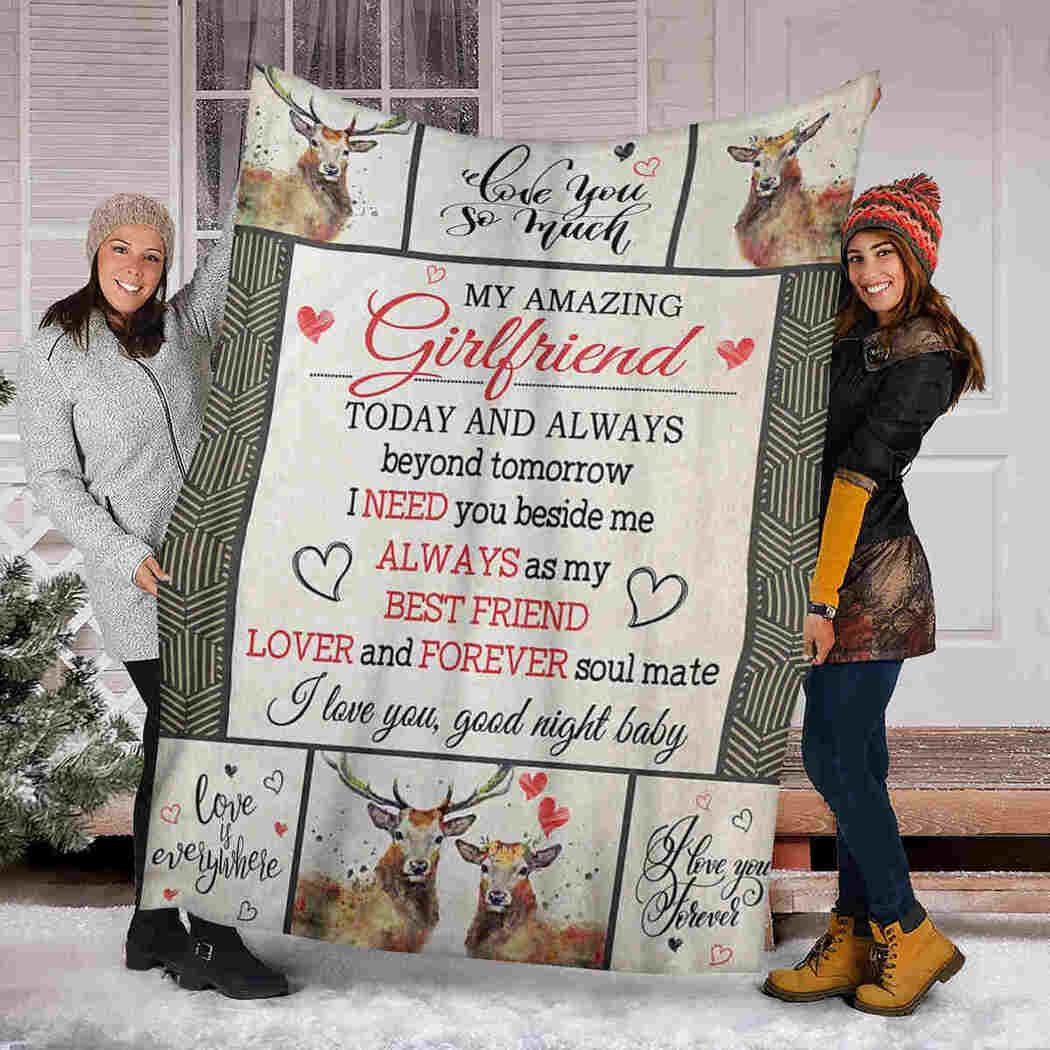 My Amazing Girlfriend Blanket - Couple Deer - I Love You Blanket