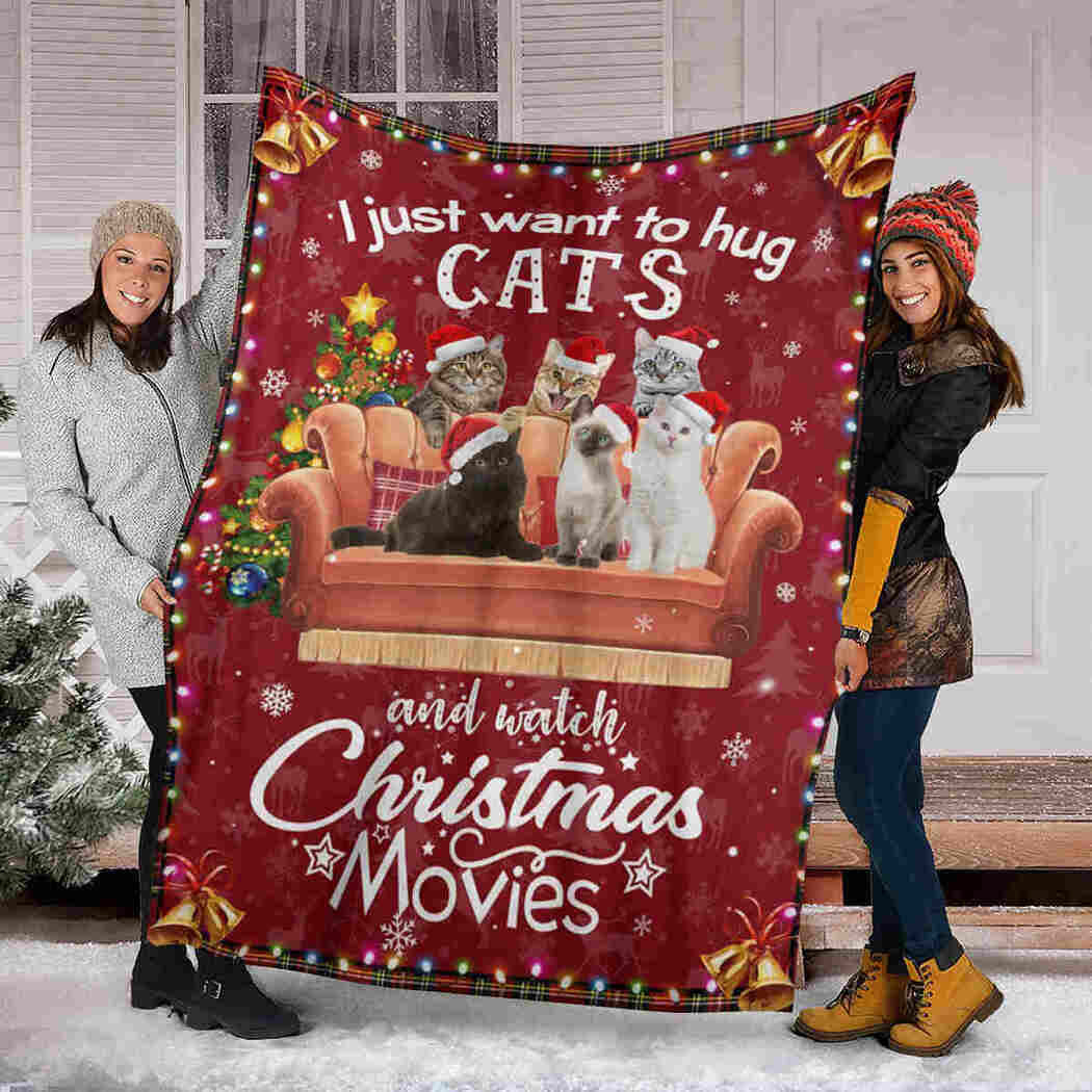Cat Christmas Blanket - Hug Cats And Watch Christmas Movies Blanket