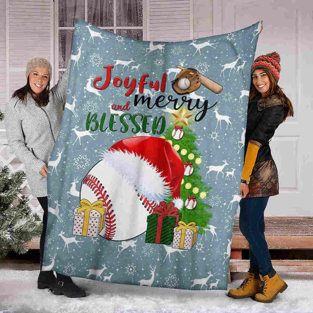 Baseball Merry Blanket - Joyful And Blessed Blanket