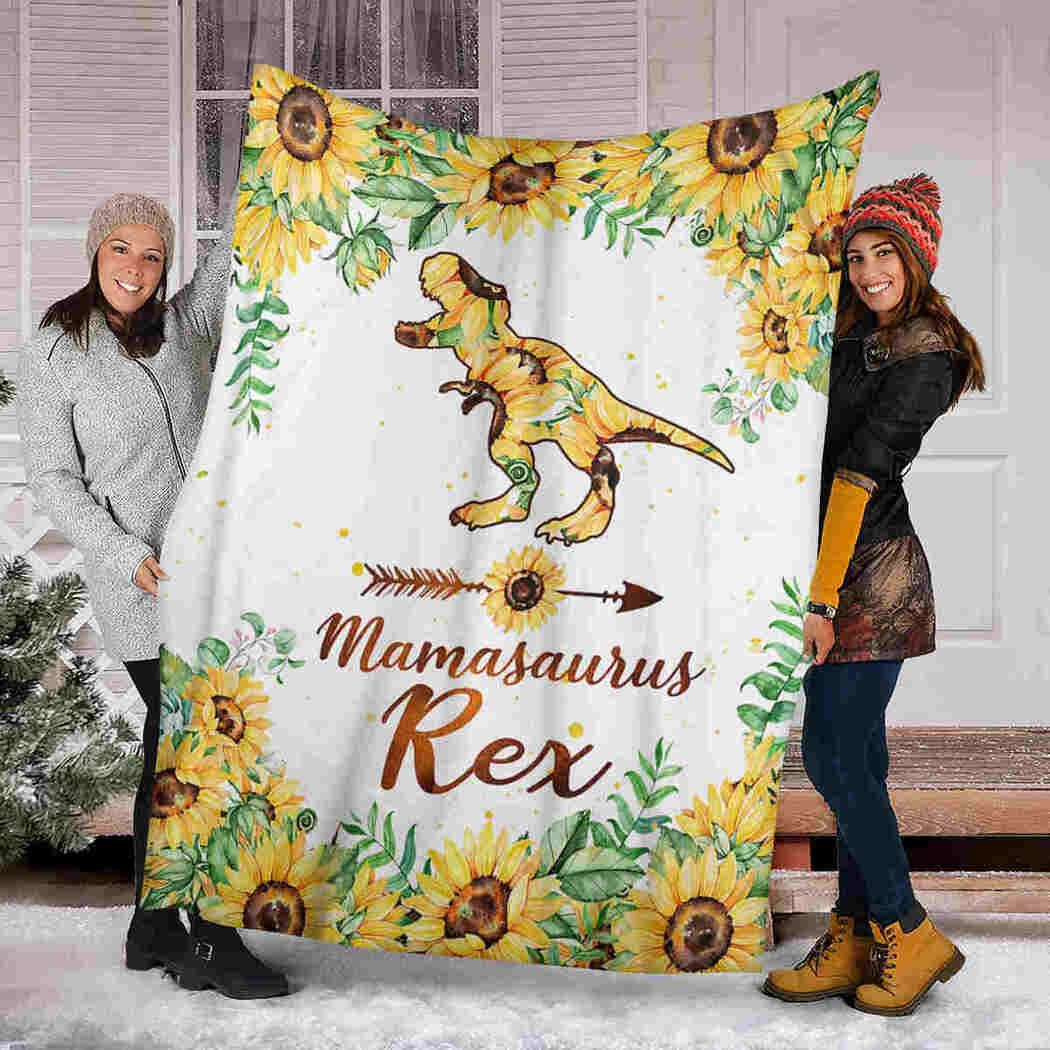 Dinosaur Sunflower Blanket - Mamasaurus Rex Blanket