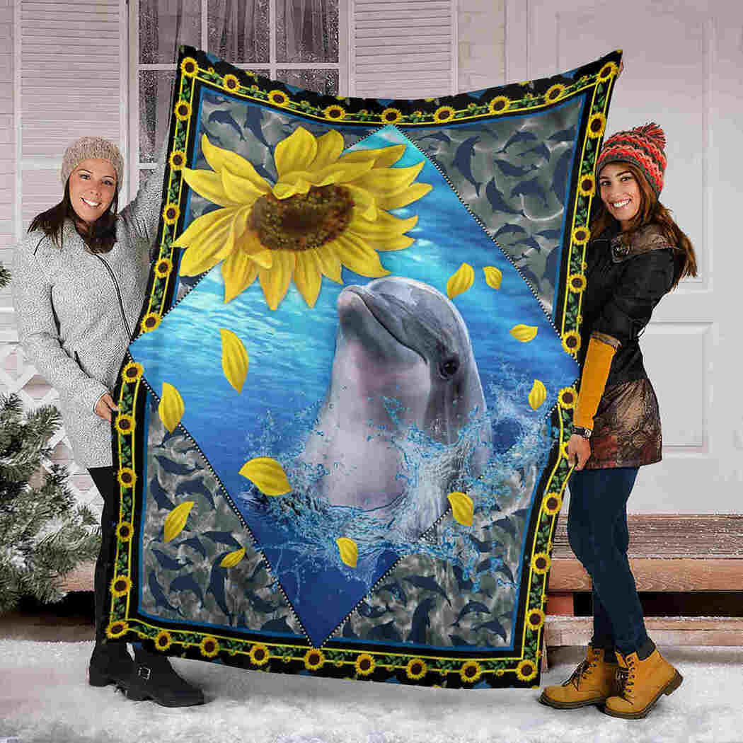 Dolphin And Sunflower Blanket - Sea Animals Blanket