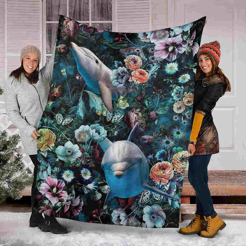 Dolphin And Flower Gift Blanket - I Love Dolphin Blanket