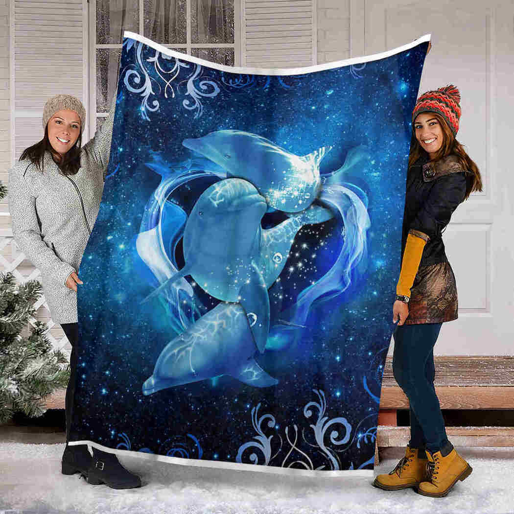 Blue Dolphin Galaxy Blanket - Dolphin Is Amazing Blanket