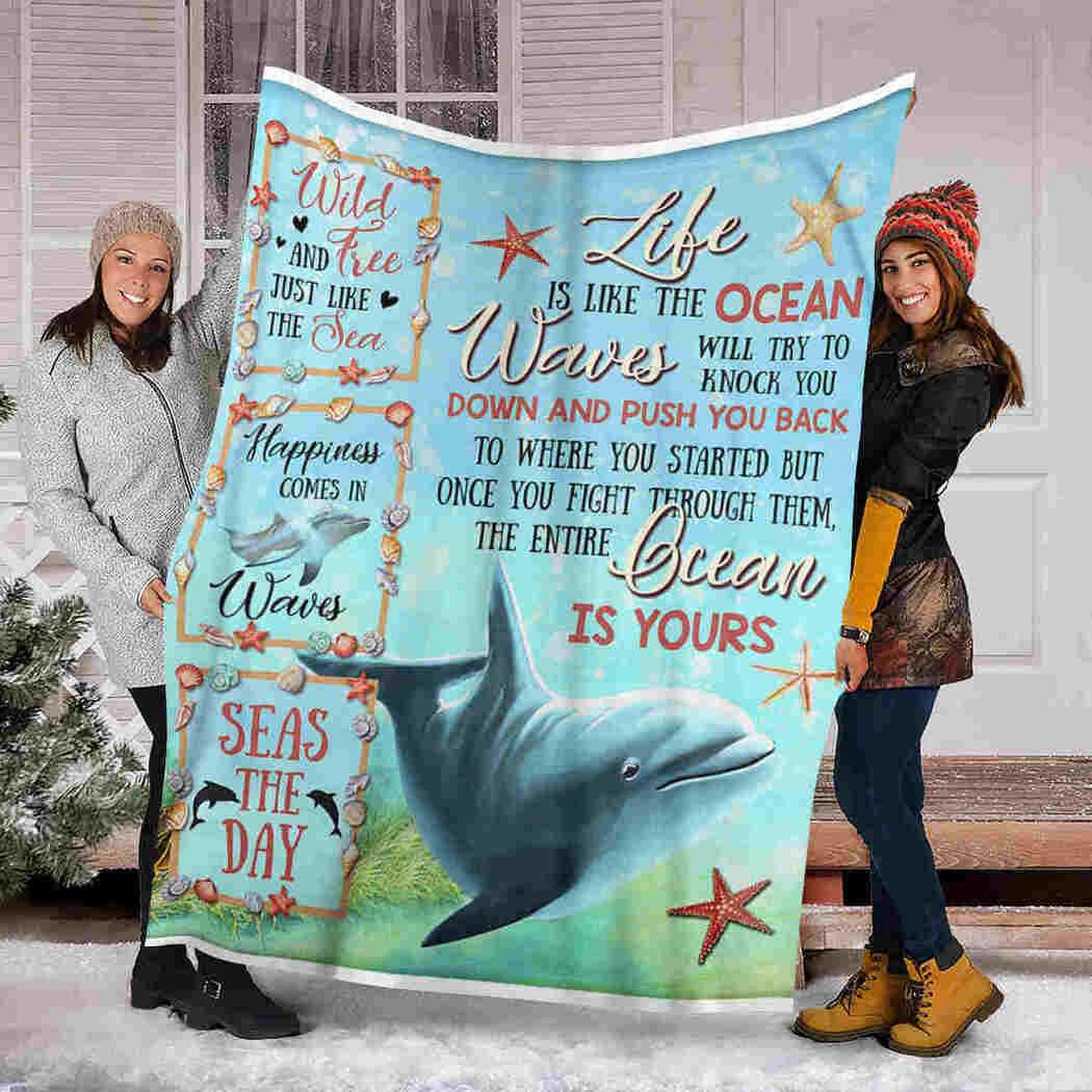 Dolphin Beauty Blanket - Life Is Like The Ocean Blanket