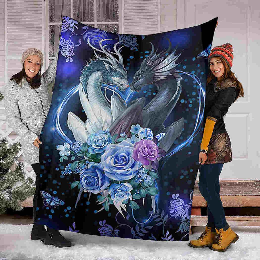 Dragon Couple Flower Blanket - Gift For Dragon Lover Blanket