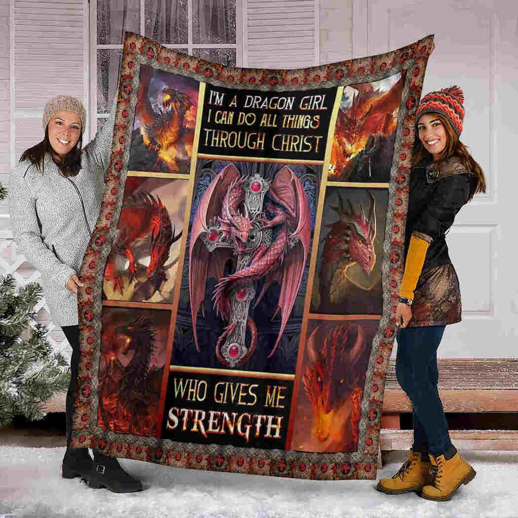 Dragon God Blanket - Dragon Girl Christ Strength Blanket