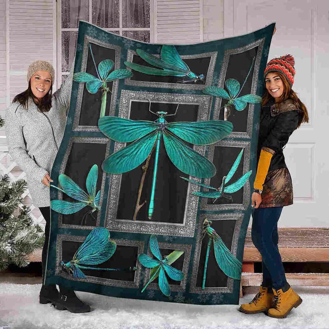 Dragonfly Green Blanket - I Love Dragonfly Blanket