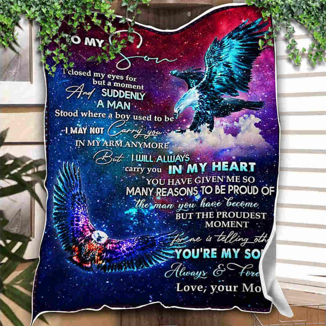 To My Son Blanket - Eagle Galaxy Blanket - I Closed My Eyes