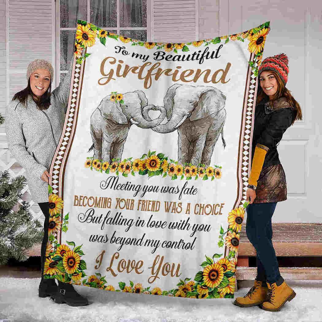 To My Beautiful Girlfriend Blanket - Sunflower Elephants - I Love You Blanket