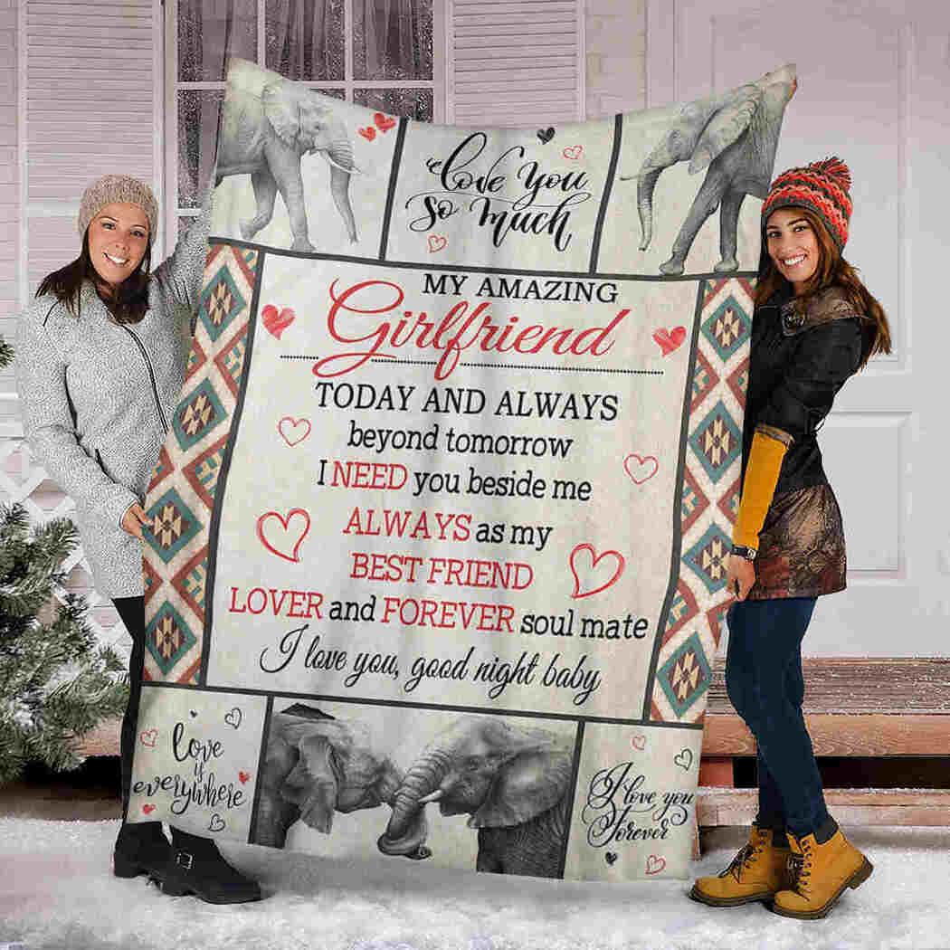 My Amazing Girlfriend Blanket - Elephant - I Need You Beside Me Blanket