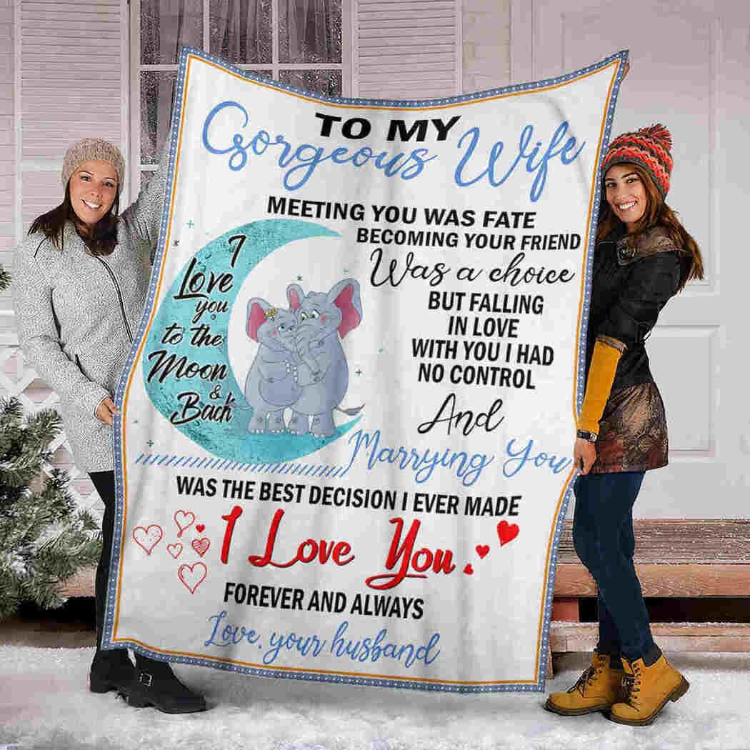 To My Gorgeous Wife - Elephants Moon - I Love You Blanket