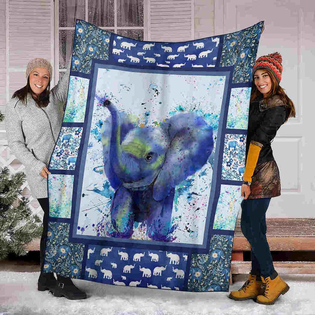 Elephant Water Color Blanket - Art Blanket