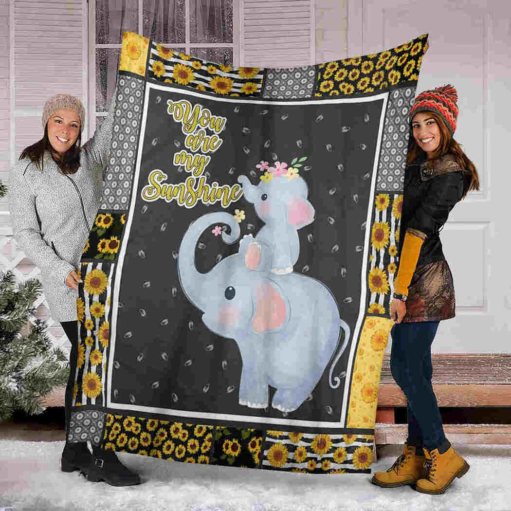 Elephant And Sunflower Blanket - You Are My Sunshine Blanket