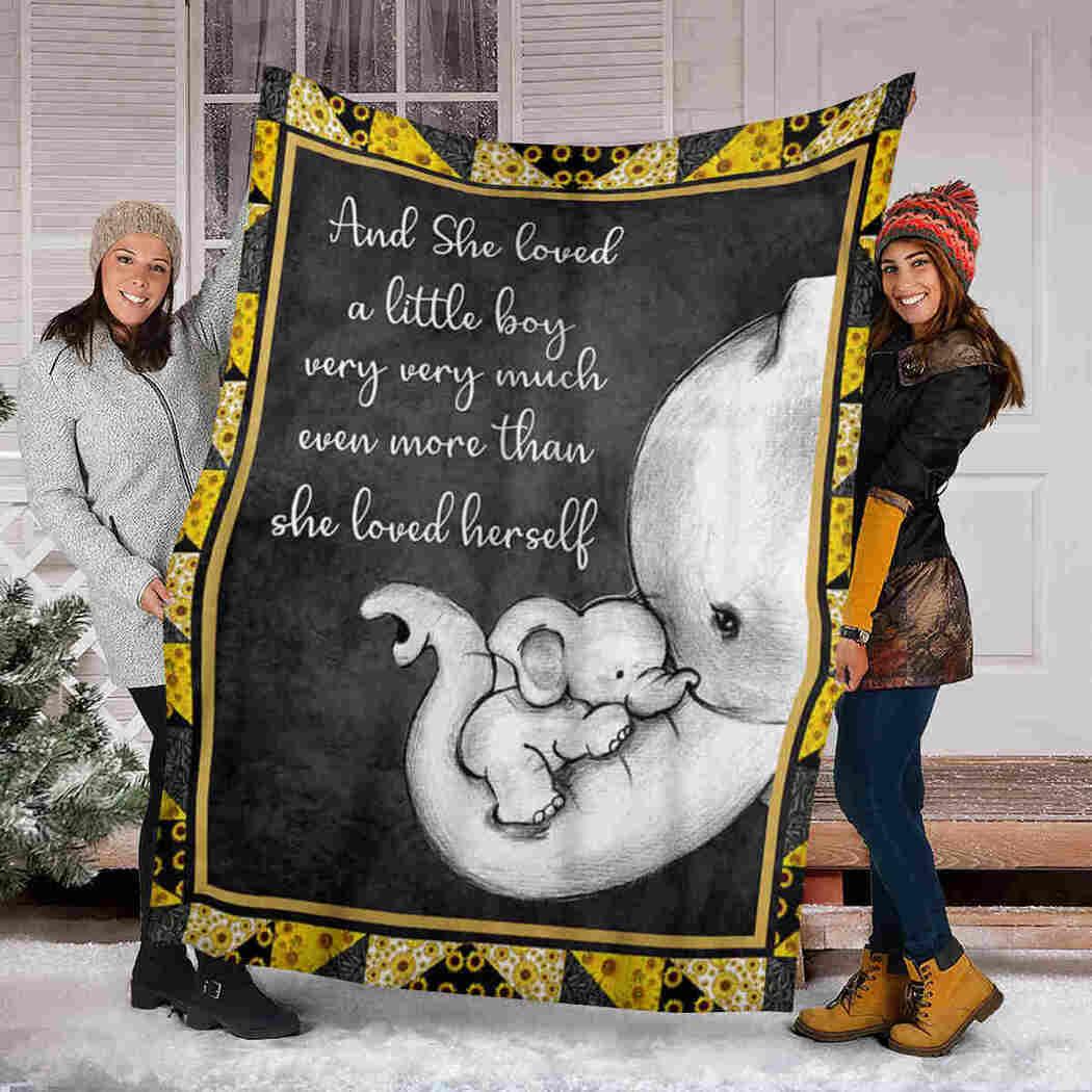 Elephant Blanket - And She Loved A Little Boy Blanket