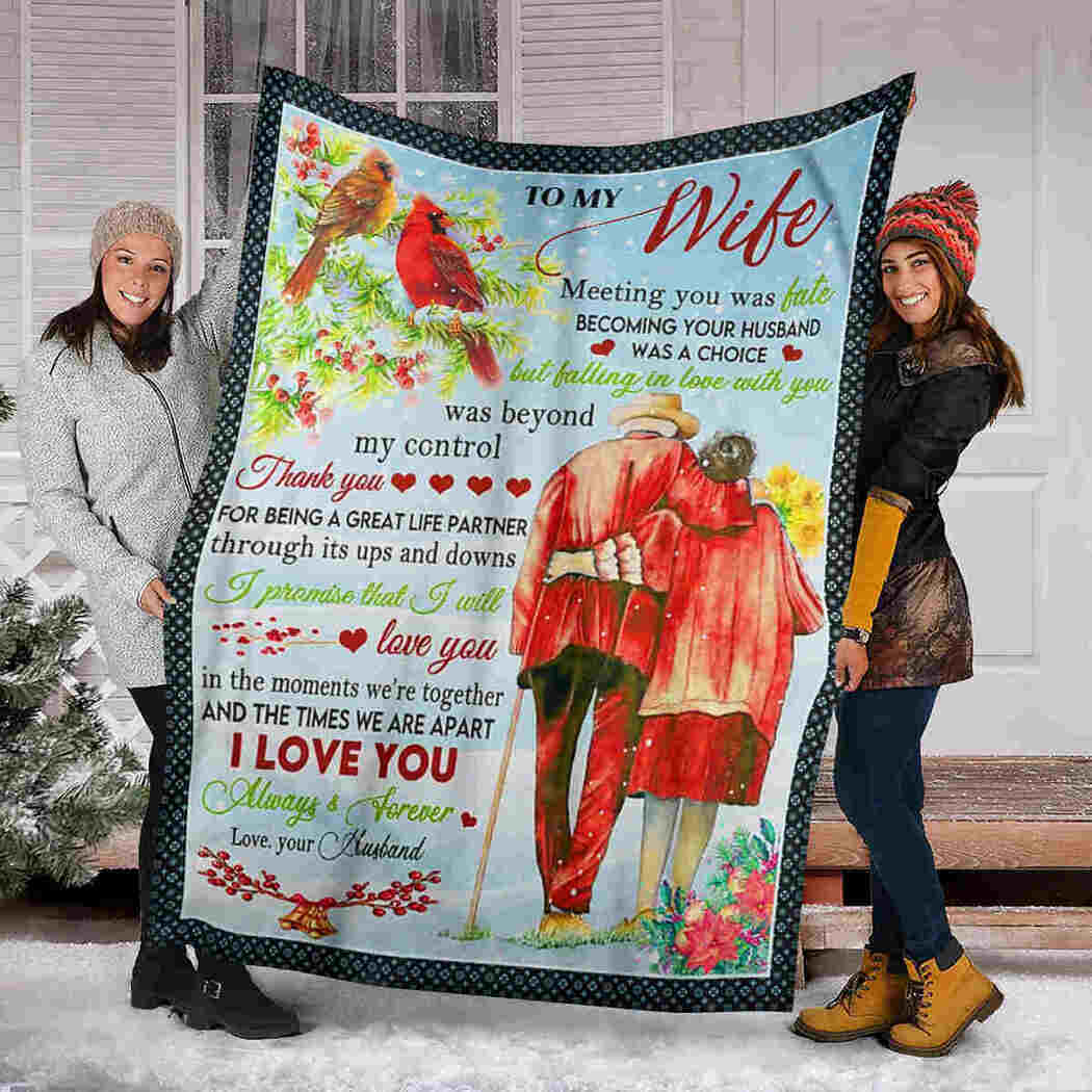 To My Wife - Old Couple Cardinal - I Love You Blanket