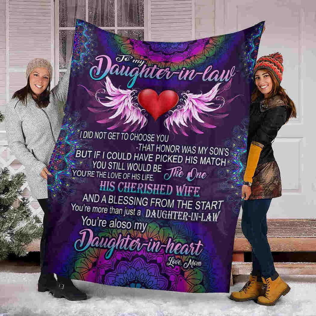 To My Daughter In Law - Mandala Heart - Daughter In Heart Blanket