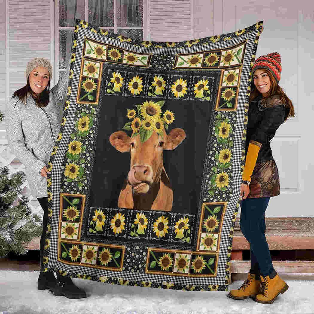 Cow Sunflower Blanket - Farm Animals Blanket