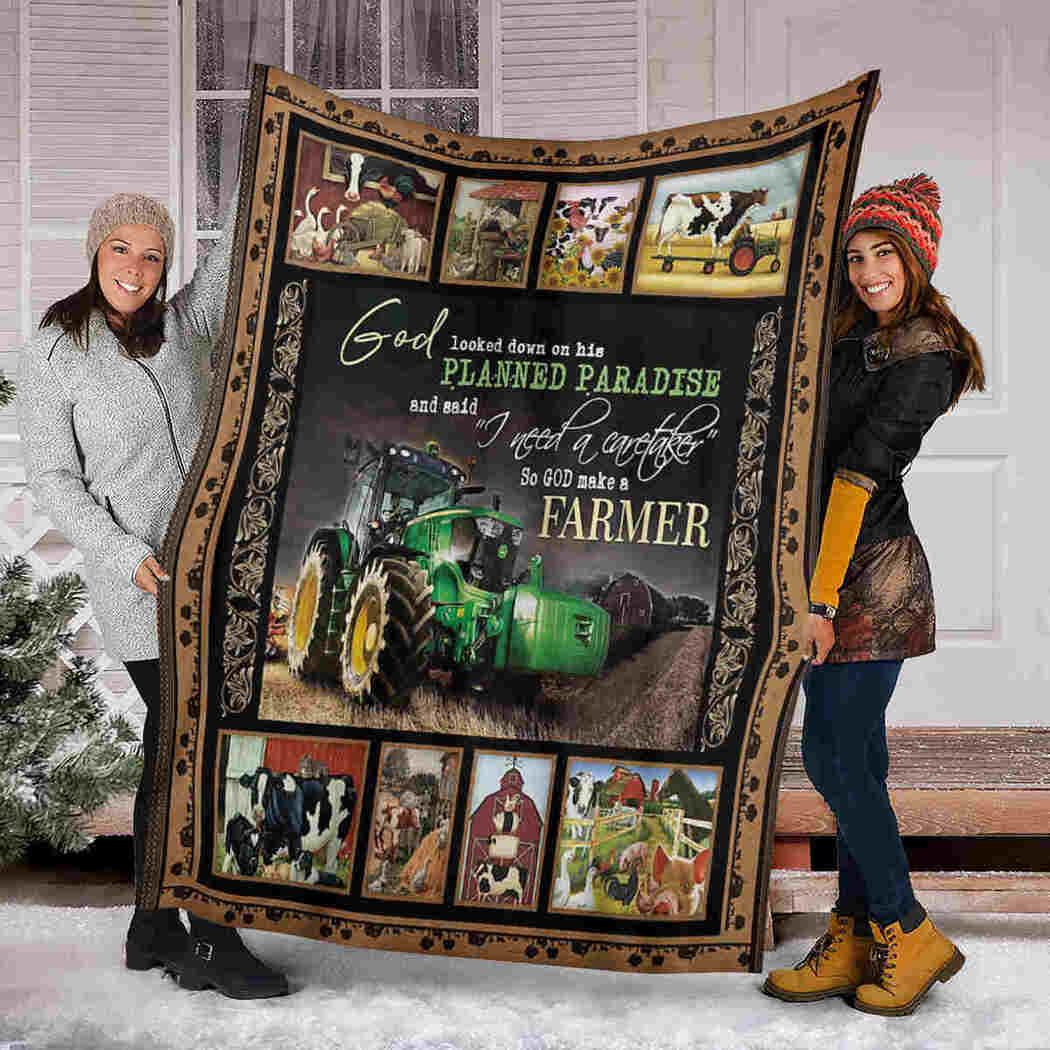 Cow And Pig Blanket - Truck On Farm - God Make A Farmer