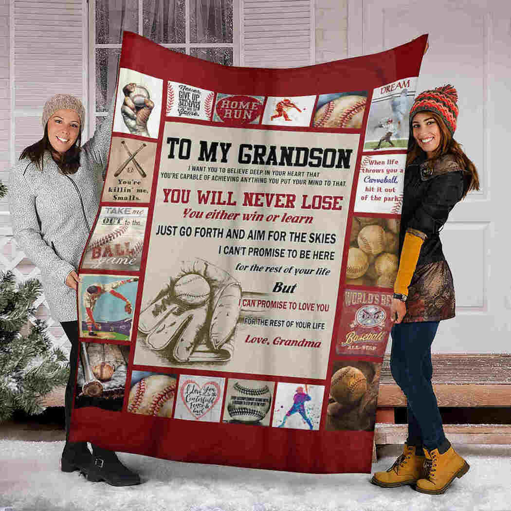 To My Grandson - Baseball - You Will Never Lose Blanket