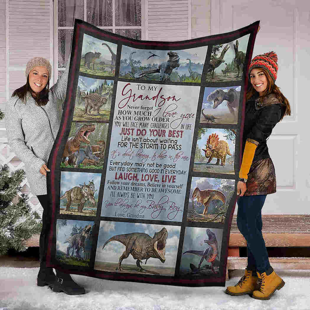 To My Grandson - Dinosaur - Just Do Your Best Blanket