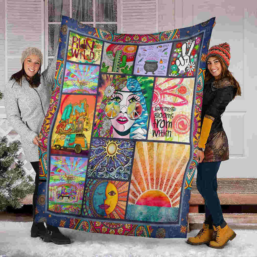 Happiness Blooms From Within Blanket - Hippie Sun Blanket
