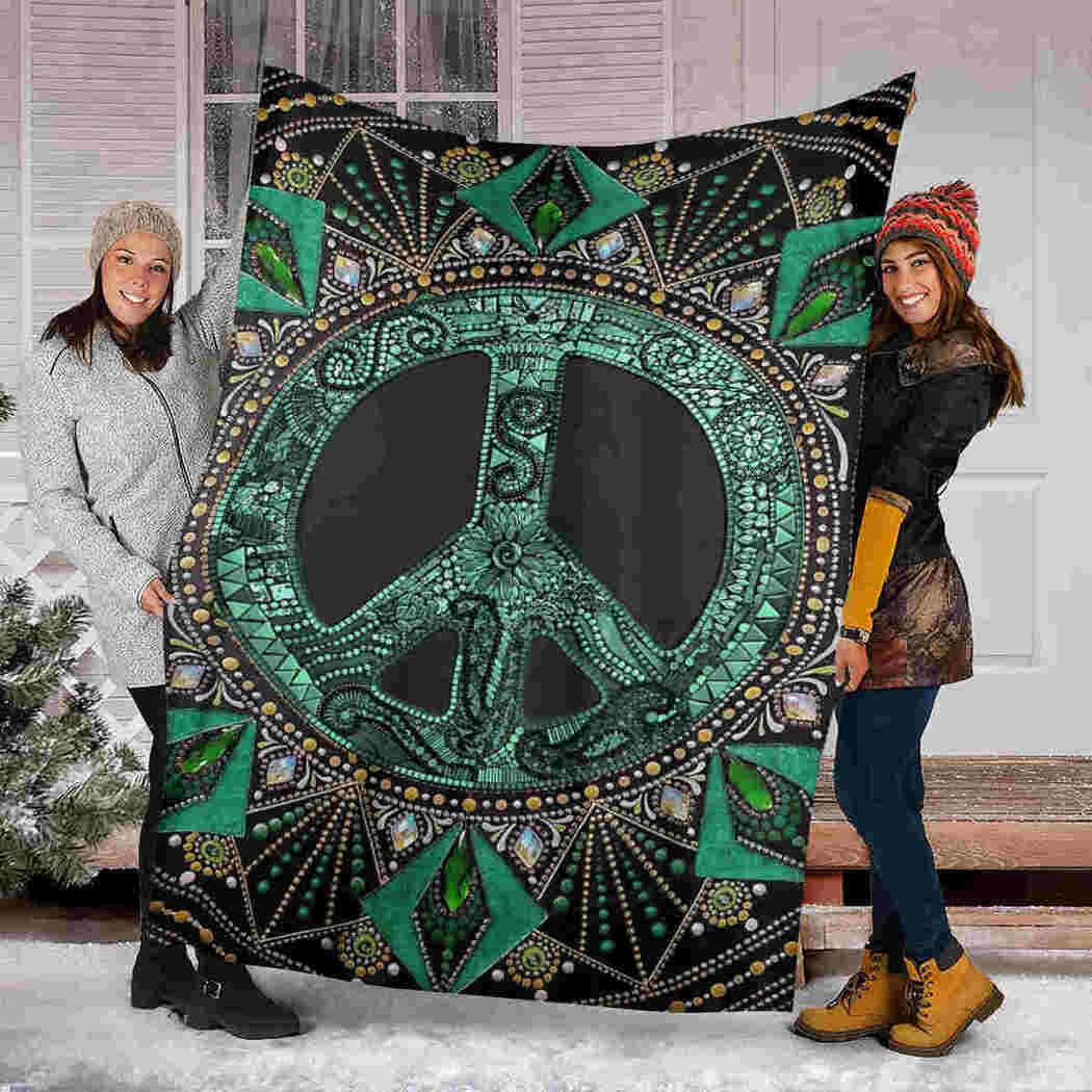 Hippie Green Blanket - Peace Beauty Blanket