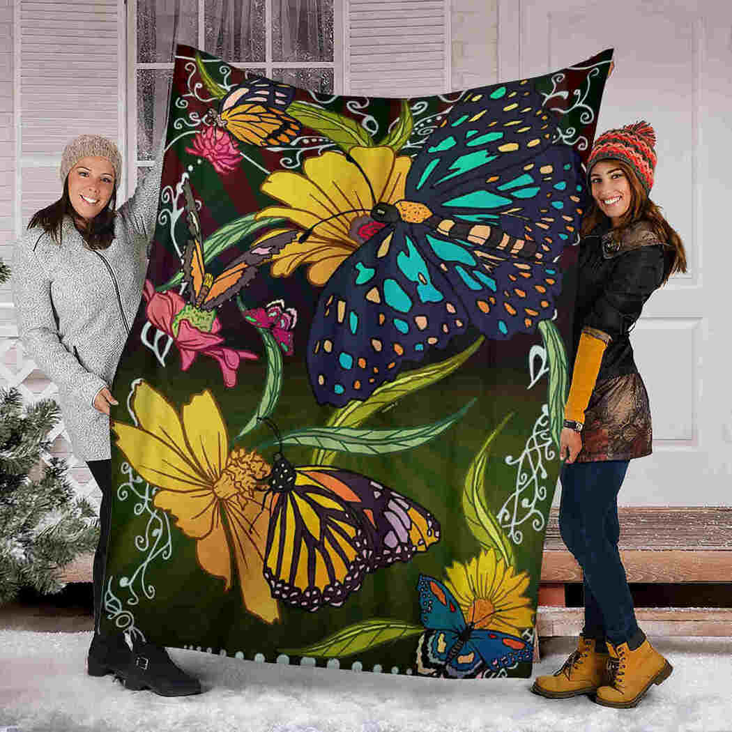 Colorful Flower And Butterfly Blanket - Special Gift For Nature Lover