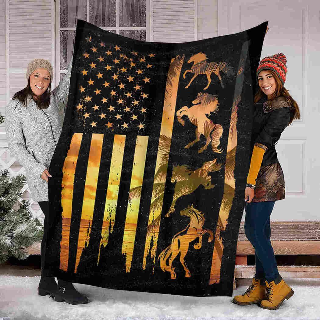 Horse USA Flag Blanket - Native Animals Blanket