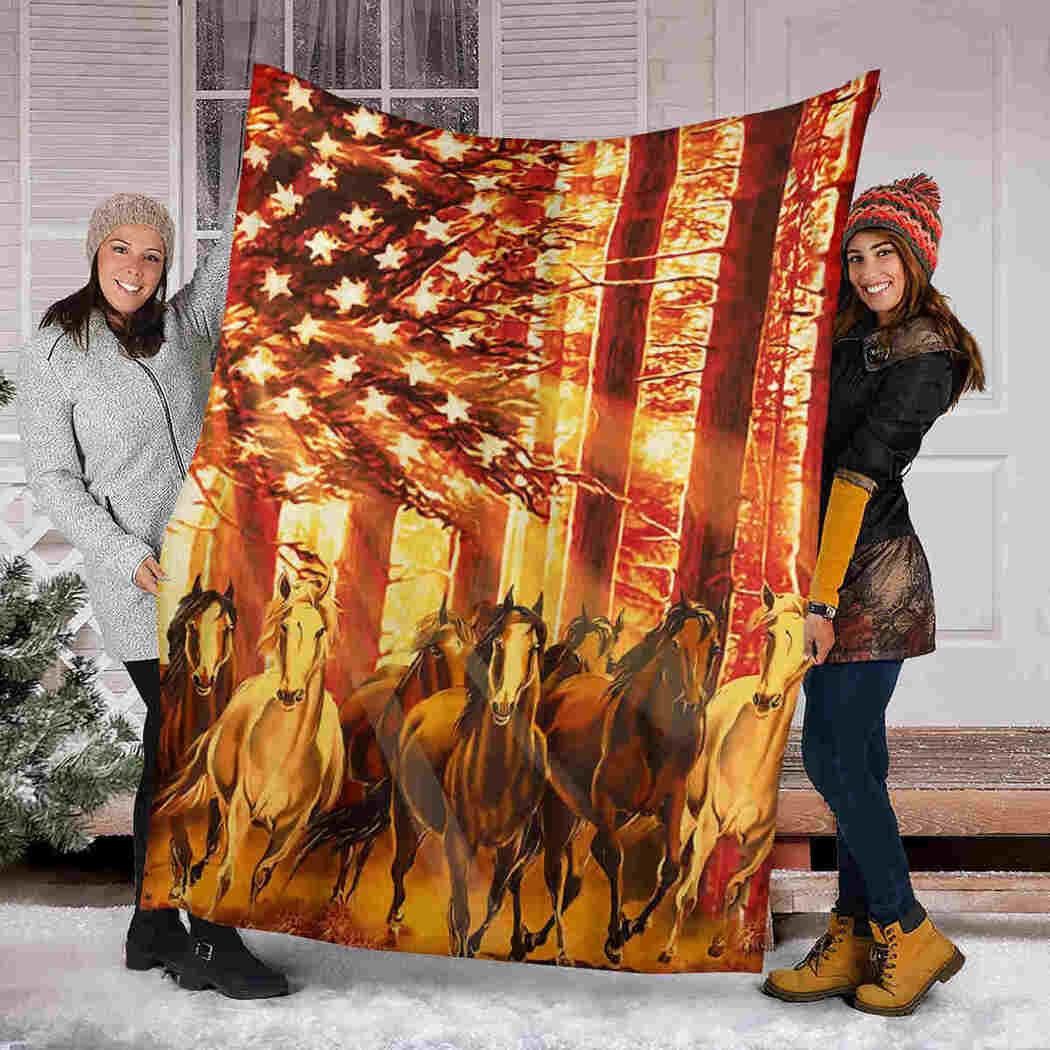 Horse Native Blanket - American USA Flag Animals Blanket