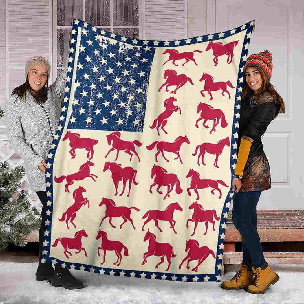 Horse America Blanket - Native Animals USA Flag Blanket
