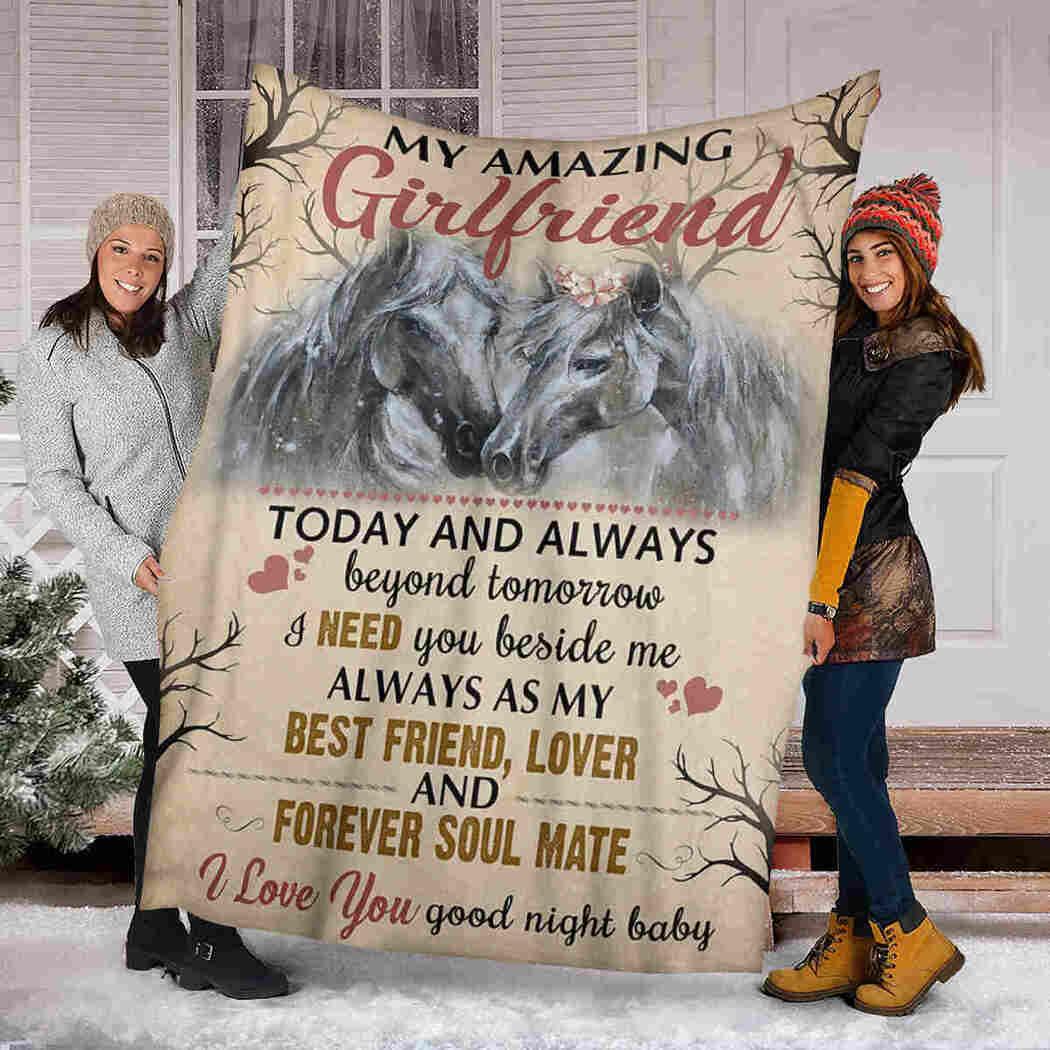 My Amazing Girlfriend Blanket - Couple Horse Blanket - Need You Beside Me Blanket