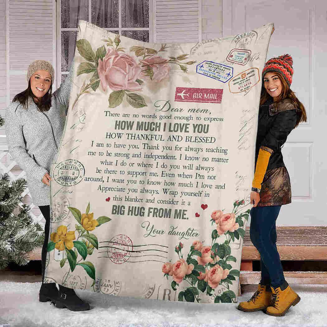 Dear Mom - Flower Letter - Big Hug From Me Blanket