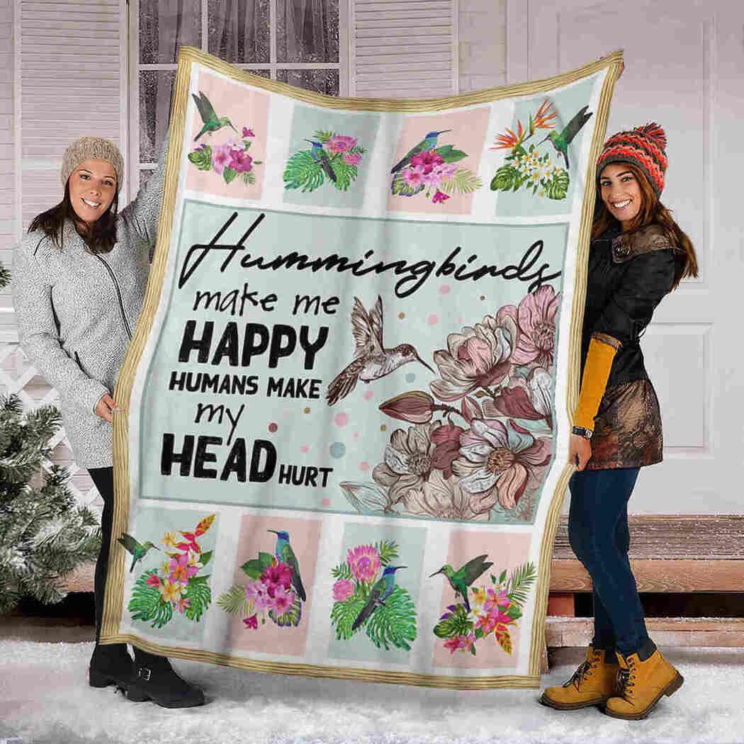 Hummingbirds Flower Blanket - Hummingbirds Make Me Happy Blanket