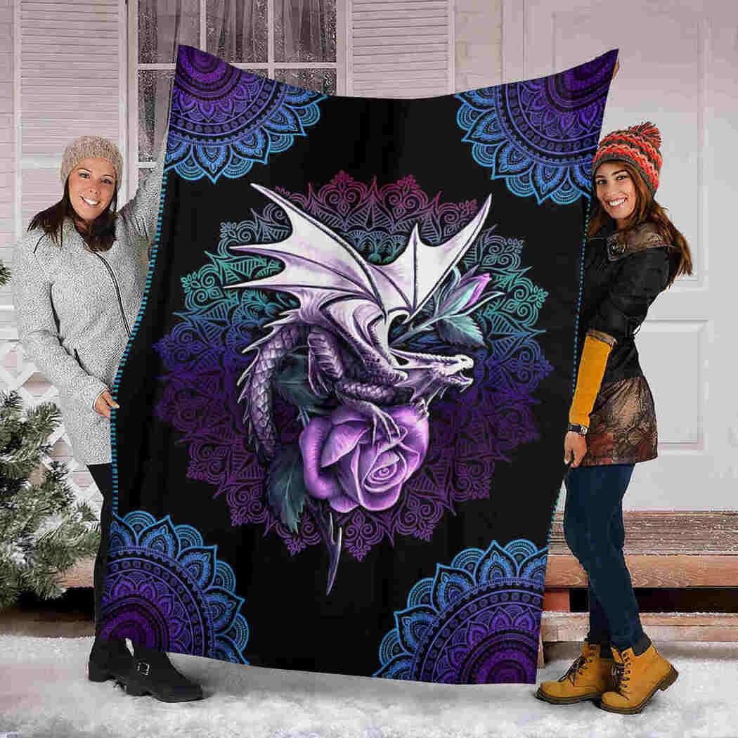 Dragon Mandala Blanket - I Love Dragons Blanket