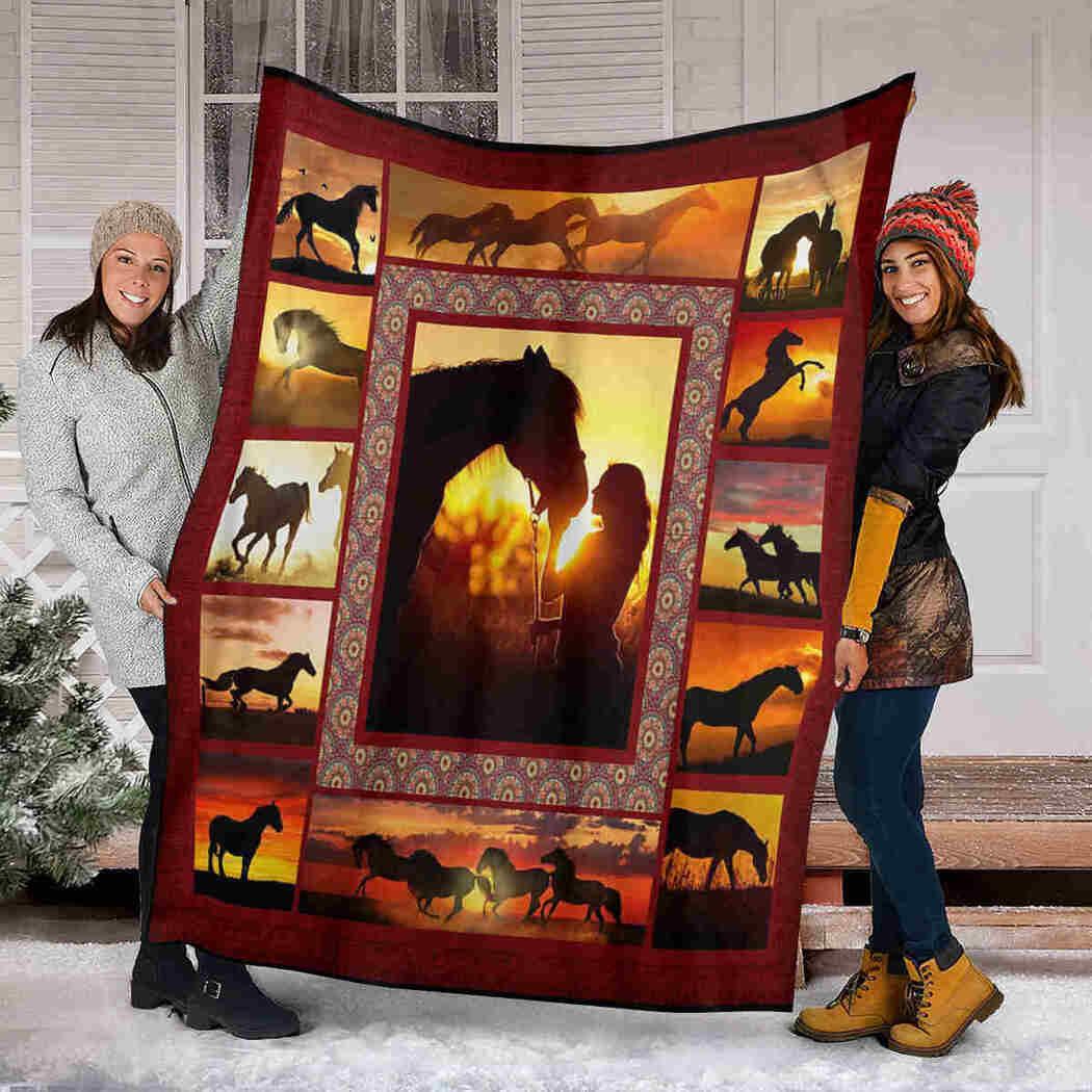 Girl And Horse In The Sunset Blanket - Blanket Gift For Animal Lover