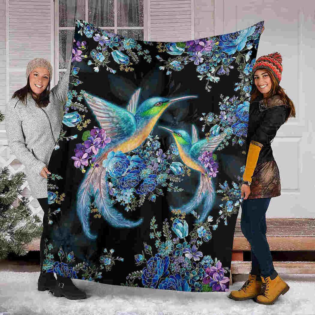 Hummingbirds Flower Blanket - Animals Beauty Blanket