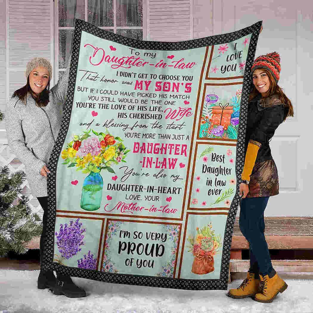 To My Daughter In Law Blanket - Flower Beauty - Daughter In Heart Blanket